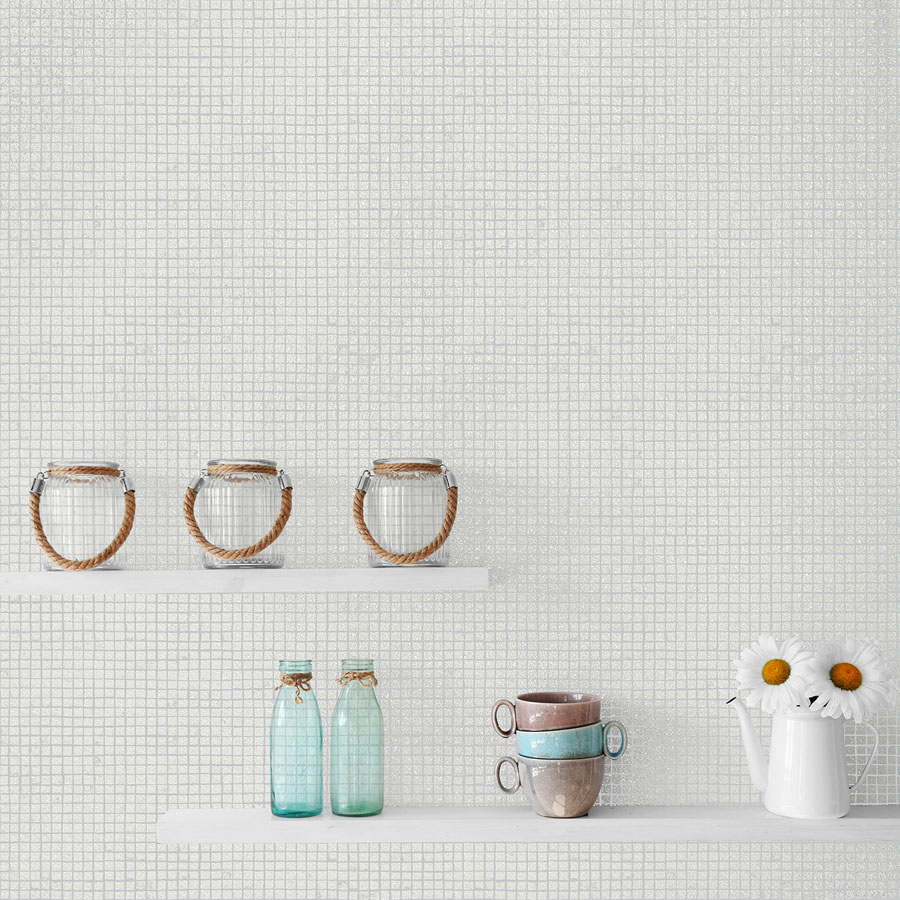 Tile effect bathroom wallpaper