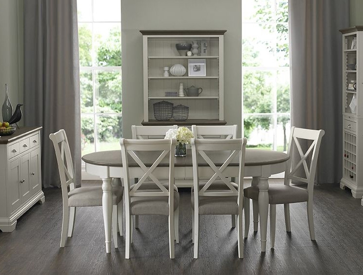 Charmant Bentley Designs Hampstead Oval Dining Set Grey/walnut